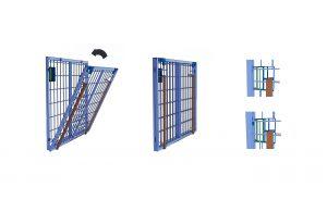 Detailierte Ansicht - Verschlusslösung dem klappbaren Bodenelement der Palettenwache